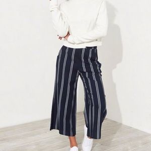 Navy & White striped high waisted wide leg pants